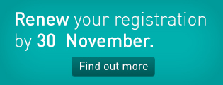 Renew your registration by 30 November. Find out more.